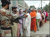 Voters queue in Karachi