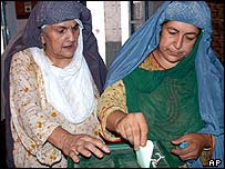 Women voters in Peshawar, North West Frontier Province