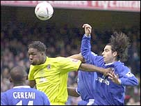 Scunthorpe's Michael Rankine give the Chelsea defence problems