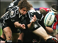 Ospreys Jason Spice had not much room to move against Munster