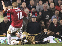 Exeter goalkeeper Paul Jones saves from Paul Scholes during the 0-0 draw at Old Trafford