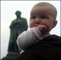 Baby May by the Pushkin monument, Moscow