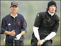 2004 champion Jordan Findlay and Germany's Bernhard Neumann in action