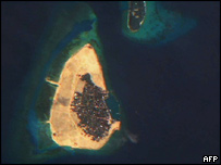 Satellite image of one of the islands of the Maldives