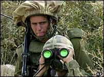Soldados israelíes en la frontera con el Líbano