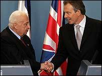 Tony Blair and Ariel Sharon