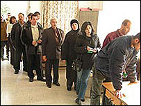Palestinian voters queuing at polling station