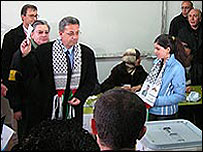 Mustafa Barghouti votes at Friends Boys School in Bireh