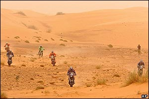 Bikers on the ninth stage between Tidjikja and Atar in Mauritania