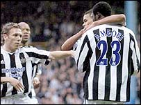 Newcastle celebrate Shola Ameobi's goal against Yeading