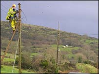 An NIE engineer working near Castlewellan, County Down