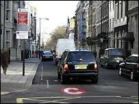 Cars entering London's congestion charging zone