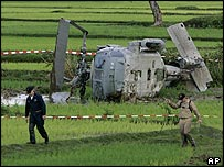 US Navy Seahawk helicopter that crashed in a rice paddy near Banda Aceh's airport
