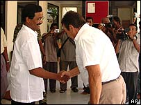 Head of Sri Lanka Monitoring Mission Hagrup Haukland meets Tamil Tiger political chief SP Thamilselvan on Thursday