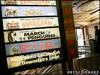 US cinema showing March of the Penguins