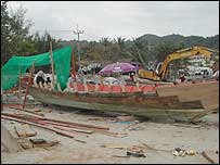 Boats being rebuilt, near Krabi