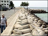 Sea defences in Maldive capital Male