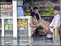 Flooded shop in Dhaka