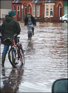 Cycling through flood waters