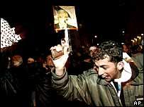 An Abbas supporter in Ramallah