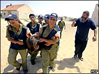 Israeli police carry out a protester from Gadid, in Gaza, as another remonstrates with them