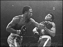 "Ali in his hey-day taking on Joe Frazier in the ""Thrilla in Manila"""