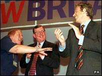 Mo Mowlam with David Trimble and Tony Blair