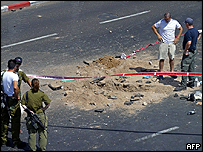 The crater left by the missile that struck near the airport at Eilat, Israel