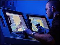Atlas employee operating anti-mine system