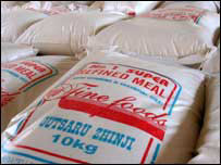 Sacks with food aid