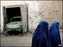Two women walking past a car in Kabul