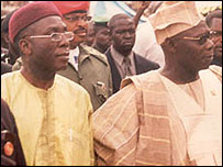 Outgoing People's Democratic Party chairman Audu Ogbeh and President Olusegun Obasanjo
