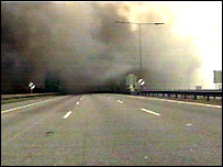 Smoke across the closed section of the M25
