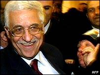 Mahmoud Abbas, junto a seguidores
