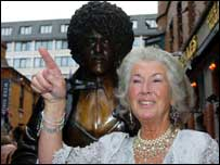 Phil's mother Philomena unveiled the statue
