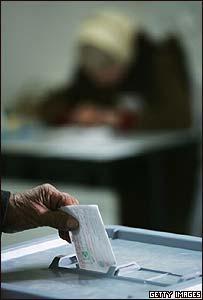 Votación durante comicios palestinos