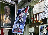 Posters of new Palestinian President Mahmoud Abbas and late President Yasser Arafat in Gaza