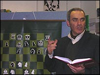 Kasparov addresses an audience of chess fans at Euston Road's Chess and Bridge shop