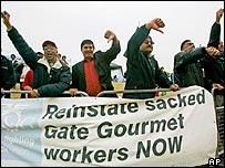Sacked Gate Gourmet workers protest at Heathrow Airport