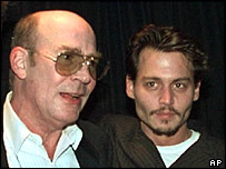 Hunter S Thompson with Johnny Depp at the 1998 premiere of Fear and Loathing Las Vegas