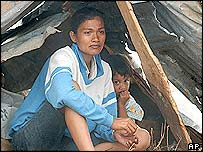 A mother and daughter at a refugee camp in Calang, Indonesia