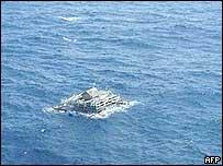 Makeshit raft on which Ari Afrizal was found
