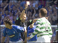 Alan Thompson is shown the red card at Ibrox