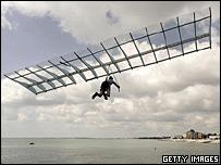 Australian flyer Izaak Connaughton launches himself off Bognor Pier
