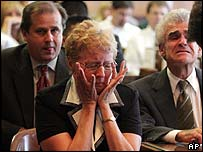Carol Ernst reacts to the verdict in court