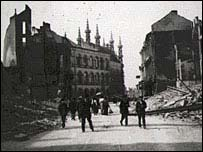 World War I ruins of Louvain in Belgium