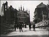 World War I ruins of Louvain in Belgium