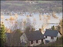 Flooding in the Conwy Valley on Sunday