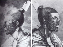 Illustration of the two preserved Maori heads/Perth and Kinross Council