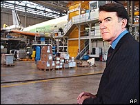 Peter Mandelson tours the A380 superjumbo jet assembly line in Toulouse